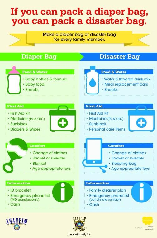 If you can pack a diaper bag, you can pack a disaster bag. Be prepared!